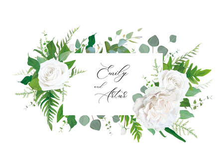 Wedding floral invitation, invite, save the date card. Vector floral frame design: white peony Rose flower, Eucalyptus branch, greenery forest fern leaves botanical illustration. Creative art template 일러스트