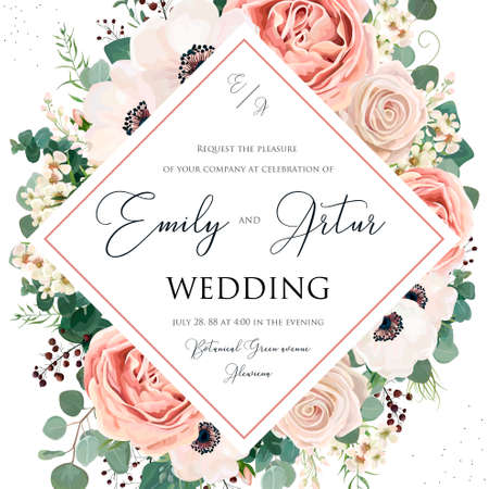 Floral Wedding Invitation elegant invite card vector design. Garden flower pink, lavender Rose, white wax dusty blush Anemone, silver green Eucalyptus leaves, berry bouquet print delicate luxury frame