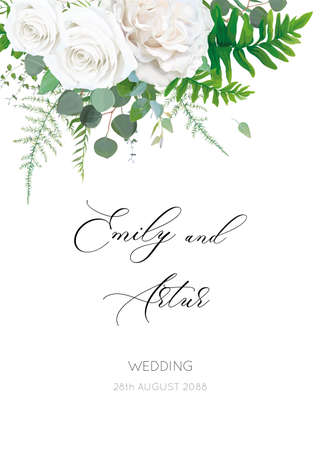 Wedding invite, invitation, floral save the date card with white, ivory Rose flowers, Eucalyptus branch, greenery, forest fern leaves botanical vector illustration. Romantic, watercolor style template 일러스트