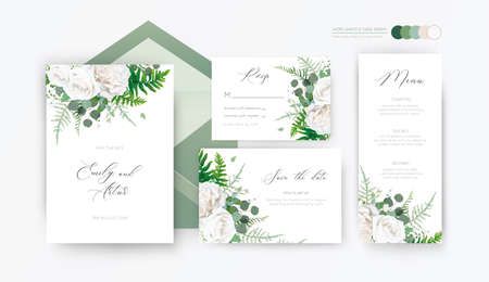 Wedding invite, invitation, rsvp, save the date, menu card floral design with elegant ivory white garden peony rose flowers, eucalyptus branches, leaves, cute forest herbs & ferns. Vector template set 일러스트