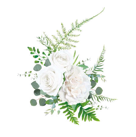 Vector floral bouquet design: Garden ivory white powder pale peony Rose flower, Eucalyptus branch, greenery leaves, forest ferns, asparagus & herbs. Wedding elegant cute watercolor invite card element 일러스트