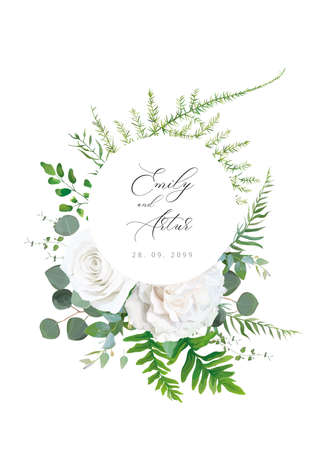 Wedding floral invitation, invite, save the date, greeting card. Vector floral bouquet design: white peony Rose flower, Eucalyptus branch, greenery fern, leaves botanical illustration. Trendy template