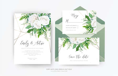 Wedding invite, invitation, save the date card design. Elegant, ivory white garden peony Rose flowers, dusty blue Eucalyptus branches, green fern leaves & metallic geometrical pattern. Vector template 免版税图像 - 152545967