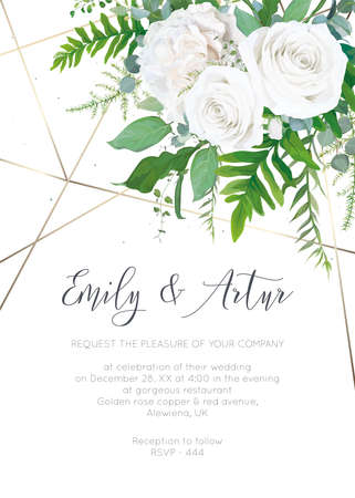 Wedding invite, invitation, save the date card design. Elegant, ivory white garden peony Rose flowers, dusty blue Eucalyptus branches, green fern leaves & metallic geometrical pattern. Vector template