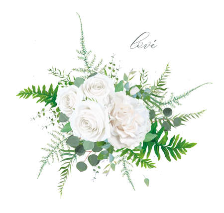 Vector floral bouquet design: Garden ivory white powder peony Rose flower, Eucalyptus branch, greenery leaves, forest ferns, asparagus & herbs. Elegant, wedding watercolor invite card designer element 일러스트