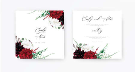 Stylish, floral boho wedding invite, save the date cards design. Burgundy dahlia, ivory white and red peony roses flowers, green asparagus fern leaves, silver eucalyptus, berry, vector classy bouquet