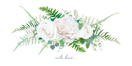 Vector floral bouquet design: Garden ivory white creamy peony Rose flower, silver sage Eucalyptus branch, greenery leaves, forest ferns, asparagus & herbs. Wedding, watercolor style invite card design