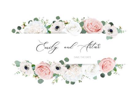 Stylish ivory white and blush peach wedding invite, invitation, save the date card design. Ilustração