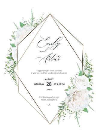Wedding trendy elegant invite floral design. Ilustração