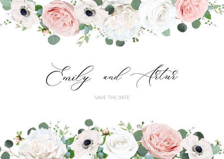 White ivory and blush peach stylish wedding invite design template
