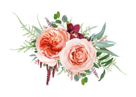 Vector floral bouquet design: blush peach Juliette rose flower, pale rose flowers, burgundy red orchid, coral heather, amaranth, Eucalyptus branch, greenery leaves, tender fern. Wedding invite element