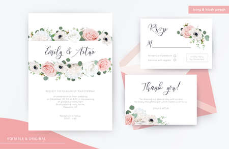 Wedding invite, invitation, rsvp, thank you card floral design. Elegant, ivory white & blush peach garden peony Rose flowers, stylish anemone flower, Eucalyptus branches & greenery leaves & Vector trendy template set