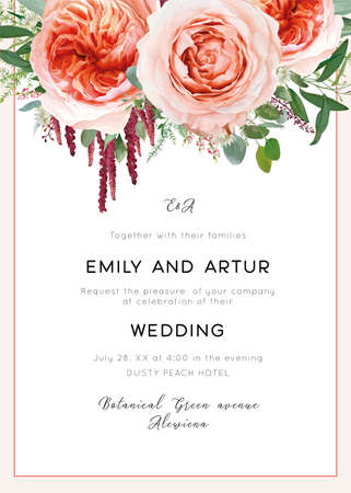Wedding invite card, invitation. Pale coral & dusty peach roses, astrantia plant, pink heather flowers, burgundy red amaranth, eucalyptus, asparagus fern leaves & herbs vector, watercolor illustration