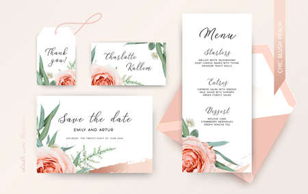 Wedding save the date, menu, rsvp, place card, label floral design. Blush peach Roses, astrania flowers, sage greenery fern, eucalyptus leaves, cinnamon rose gold brush stroke. Stylish chic modern set Ilustrace