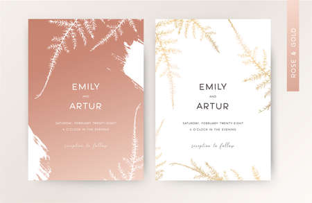 Wedding invite, luxury modern invitation, greeting card. Stylish minimalist vector design with floral rose golden asparagus fern leaves botanical, herbal metallic foil art print. Isolated & editable