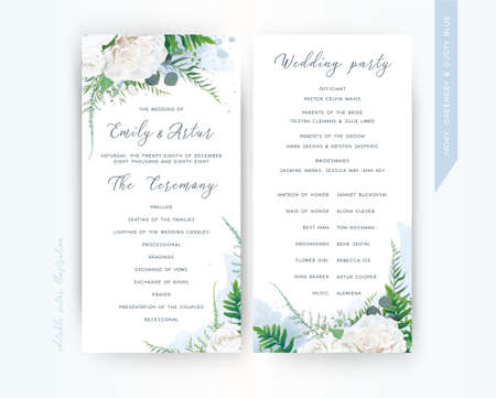 Wedding program card floral template set. Elegant stylish tender ivory white Rose flowers, asparagus fern leaves greenery bouquet frame & dusty blue watercolor paint splashes. Trendy & delicate design Ilustrace