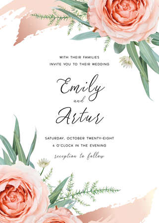 Wedding invite, invitation card floral design. Blush peach rose flowers, green asparagus fern eucalyptus leaves decorated with cinnamon rose gold metallic brush stroke. Stylish vector art illustration