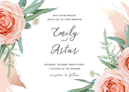 Wedding invite save the date card design. Blush peach garden rose flowers, green asparagus fern eucalyptus leaves, floral frame & cinnamon rose gold brush stroke. Elegant, stylish vector illustration