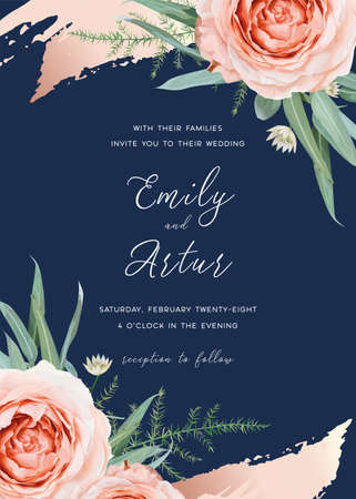 Wedding invite, invitation card floral design. Blush peach rose flowers, green asparagus fern, eucalyptus leaves frame with cinnamon rose, gold brush stroke. Vector art bouquet on navy blue background 矢量图像