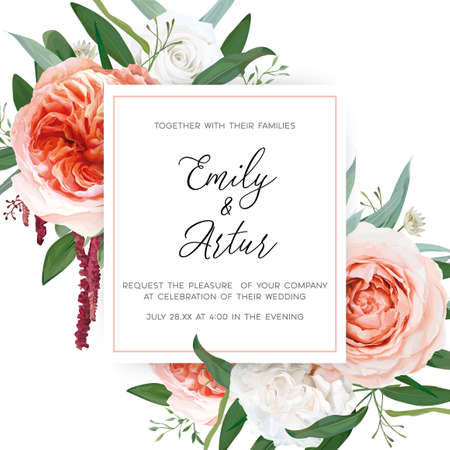 Vector watercolor wedding floral invite, greeting card design: blush peach, ivory white roses, pale coral Juliette flowers, burgundy red amaranth, greenery leaves bouquet frame. Elegant, chic template
