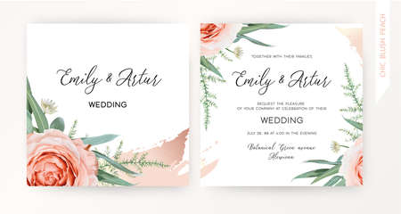 Wedding square invite, save the date card design. Blush peach roses, white astrantia flowers, green asparagus fern, eucalyptus leaves, floral frame, rose gold brush stroke. Stylish vector illustration