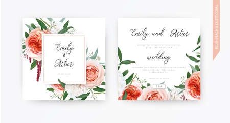 Vector watercolor wedding floral invite, invitation design: blush peach, ivory white roses, pale coral Juliette flowers, burgundy amaranth, eucalyptus greenery leaves wreath. Trendy & stylish template
