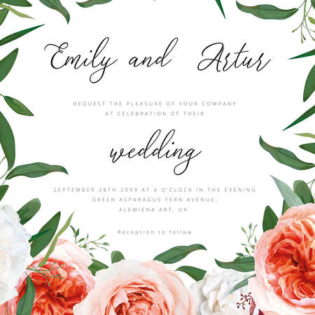 Wedding floral invite, greeting save the date card design. Blush peach, ivory white roses, pale coral Juliette flowers, burgundy amaranth, eucalyptus seeded greenery leaves frame. Elegant art template