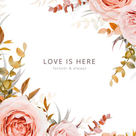 Elegant, floral vector wedding invite card, greeting, banner design in warm tones. Pink, blush peach Rose flowers, taupe, brown beige, cream autumn Eucalyptus branches, succulent leaves frame template