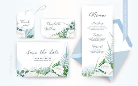 Wedding menu, save the date, place card, label floral design. Delicate tender ivory white Rose flower, asparagus fern leaves greenery wreath frame & dusty blue watercolor. Trendy & tender template set