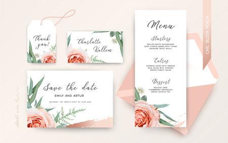 Elegant vector wedding invitation with flowers