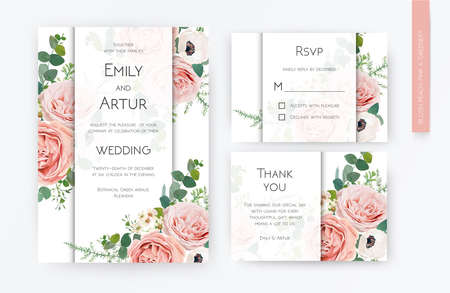 Floral wedding invite card, rsvp, thank you card design. Blush peach, lavender rose, white anemones, wax flowers, Eucalyptus greenery branches foliage, green fern leaves lovely modern watercolor frame
