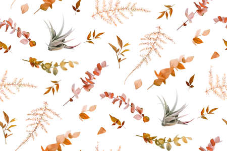 Vector autumn seamless pattern with mix of cute fall burnt orange red eucalyptus branches, taupe natural succulent leaves, beige brown asparagus fern. Wallpaper, textile fabric, paper template design