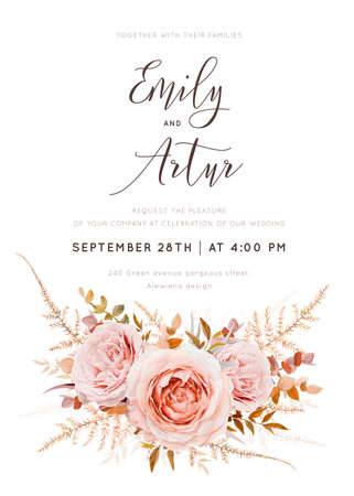 Vector watercolor style wedding invite, invitation card. Blush peach rose flowers, autumn brown camel beige, burnt orange Eucalyptus branches foliage, fern leaves bouquet. Bohemian chic elegant design