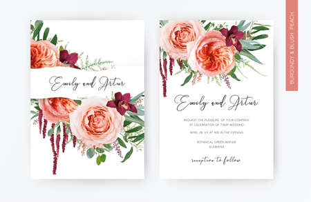 Wedding vector floral invite, invitation, greeting card design. Blush peach flowers, pale coral Juliette rose, burgundy red orchid, eucalyptus greenery leaves decoration. Elegant watercolor template