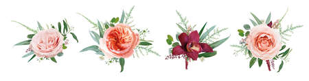Vector floral bouquet design: pale coral Juliette rose flower, dusty pink, peach roses, burgundy red orchid, amaranth, Eucalyptus branch greenery leaf, tender fern. Wedding card watercolor element set