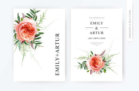 Wedding vector floral minimalist modern invite, invitation design. Pale coral Juliette rose, eucalyptus greenery leaves, burgundy seeds, asparagus fern bouquet. Elegant, chic watercolor style template 矢量图像