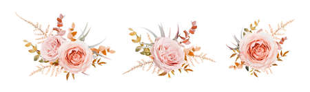 Vector floral bouquet design. Pink, blush peach Roses, fall, winter tones taupe, brown beige cream autumn Eucalyptus branch, leaves, fern. Wedding invite card decorative elegant watercolor element set Vecteurs
