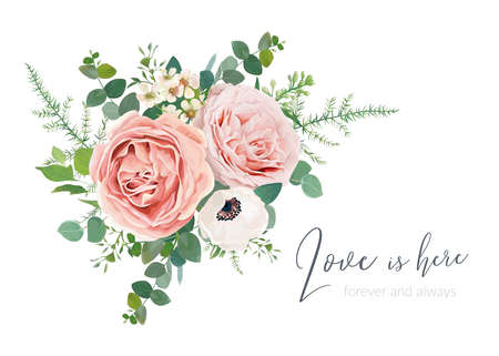 Vector wedding invite card, greeting, banner design. Blush peach, lavender rose, ivory anemone, wax flower, Eucalyptus greenery branches foliage and green fern leaves lovely watercolor bouquet element
