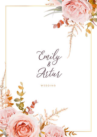 Vector wedding invite card design. Blush peach flowers, ivory white Rose, autumn brown, beige, dusty orange Eucalyptus branches, foliage, asparagus fern leaves decorative bouquet border & golden frame 矢量图像