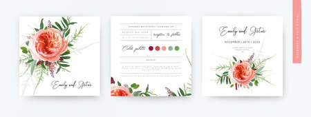 Wedding vector art floral minimalist watercolor style invite card, greeting design. Pale coral Juliette rose, greenery leaves, burgundy seeds, tender fern bouquet. Elegant, stylish trendy template set