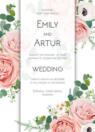 Vector floral chic wedding invite card design. 矢量图像