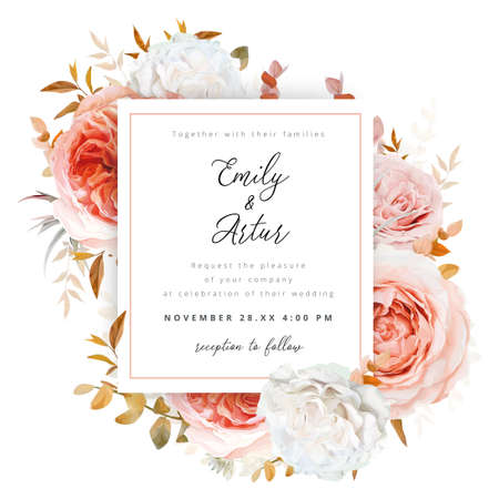 Vector wedding invite card, invitation design.