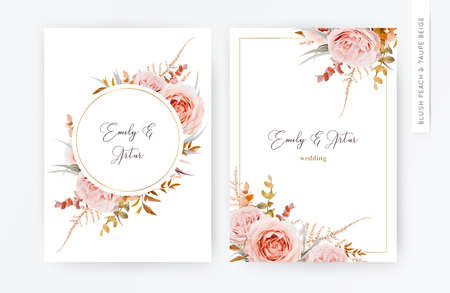 Vector elegant wedding floral invite card invitation design in fall, winter tones.