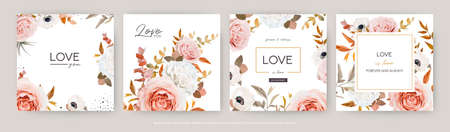 Vector watercolor style wedding invite, greeting card, banner template design set. Elegant blush peach, pink Roses, ivory white anemone flower, beige, brown orange Eucalyptus leaves bouquet decoration