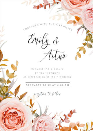 Vector wedding floral invite card design in warm fall, winter tones. Pink, blush peach Rose flowers, taupe, brown beige, orange cream autumn Eucalyptus branch, succulent leaves, fern. Stylish template