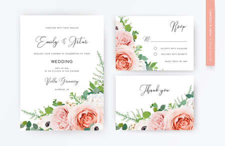 Floral, watercolor wedding invite card, rsvp, thank you card design. Blush peach, pink garden roses, white anemone flower, lilac flowers, Eucalyptus greenery branches & green fern leaves bouquet frame