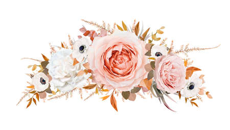 Romantic stylish vector floral wreath, garland bouquet design. Blush peach, pale pink Roses, ivory white anemone flowers, taupe brown orange fall Eucalyptus branch, ocher fern leaves. Editable element 矢量图像