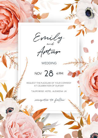 Vector elegant, stylish wedding invite, invitation card design. Chic bouquet frame: blush peach, pink rose flowers, white anemones and lush eucalyptus, fern leaves in autumn tones. Editable & isolated