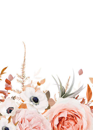 Vector floral bouquet border, frame pattern with stylish fall garden blush peach & pink Roses, white anemone flowers, autumn colorful orange, brown Eucalyptus leaves. Watercolor wedding invite, banner 矢量图像