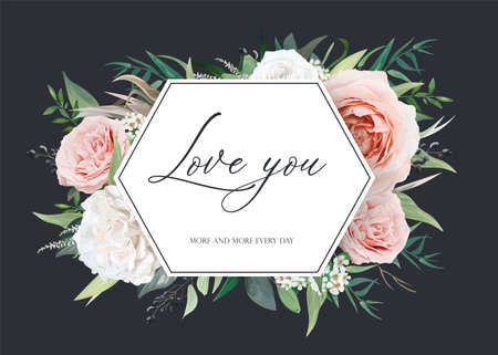 Stylish, floral vector wedding invite card, valentine greeting postcard template design. Blush peach, light pink, ivory white garden roses, navy berry, eucalyptus leaves, herbs watercolor illustration